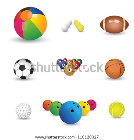 Collection of colorful sports balls illustration. The graphics include balls from sports like tennis, soccer, football, golf, table tennis, rugby, bowling, basketball, billiards and snooker. - stock vector