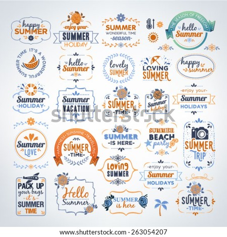 Collection Of Colorful Summer Calligraphic And Typographic Vintage Design Elements - stock vector