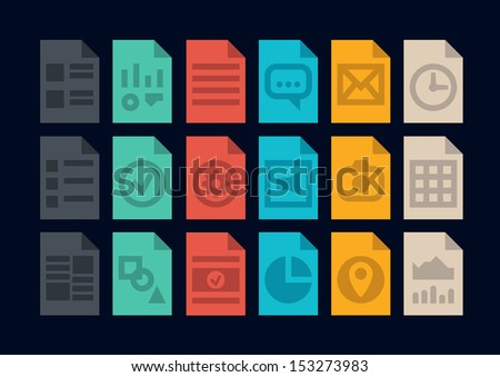 Collection of colorful vector icons in modern flat design style of various program file or document type version. Isolated on black background. - stock vector