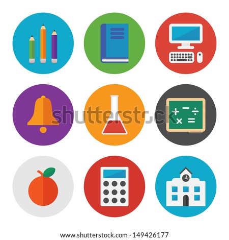 Collection of colorful vector icons in modern flat design style on learning and education theme.  Isolated on white background.  - stock vector