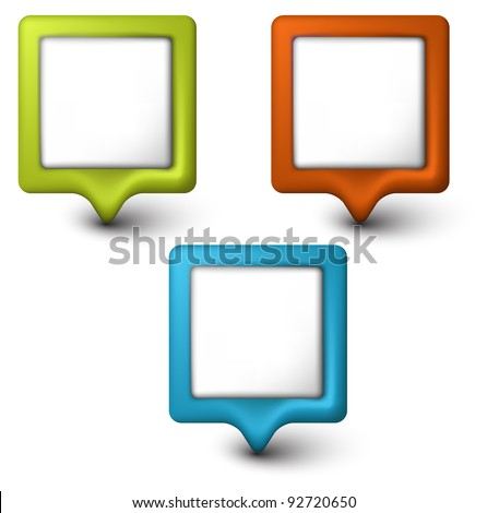 Collection of colorful Vector square 3D pointers - stock vector