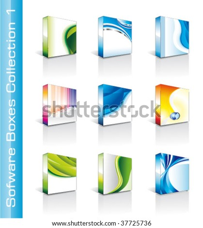 Collection of Colrful High Quality Software Boxes - stock vector