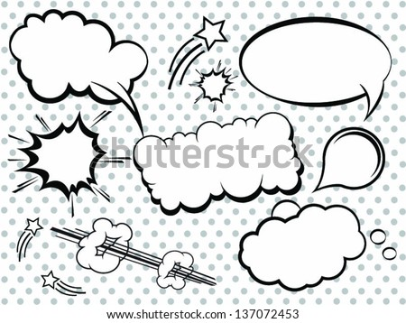 Collection of Comic Style Bubbles in Vector Format - stock vector