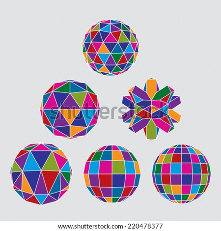 Collection of complex dimensional spheres and abstract geometric figures with white outline. Kaleidoscope facet. - stock vector
