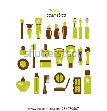 Collection of cosmetics icons. Vector of isolated cosmetics elements. - stock vector