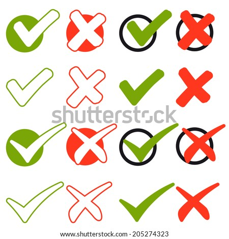 Collection of cross and hook - green and red - stock vector