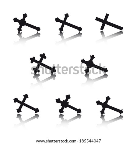 Collection of crosses isolated on white background - stock vector