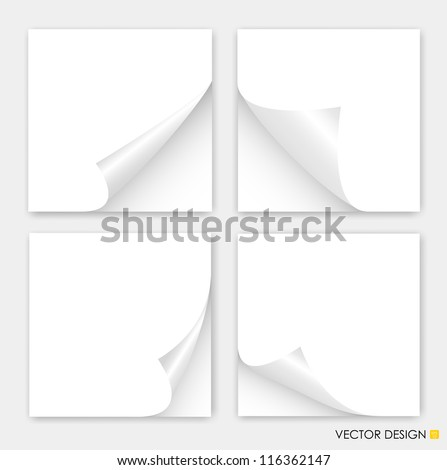 Collection of curled corners white papers, Vector illustration. - stock vector
