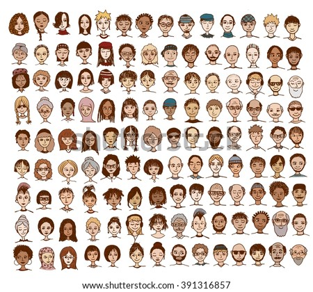 Collection of cute and diverse hand drawn faces - stock vector