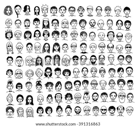 Collection of cute and diverse hand drawn faces in black and white - stock vector