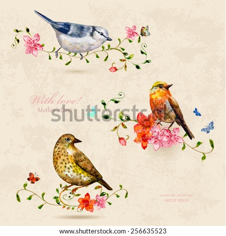 collection of cute birds. watercolor painting - stock vector