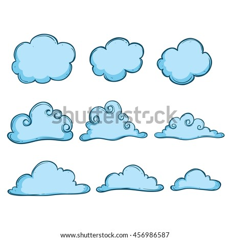 Collection of cute blue clouds using doodle art - stock vector
