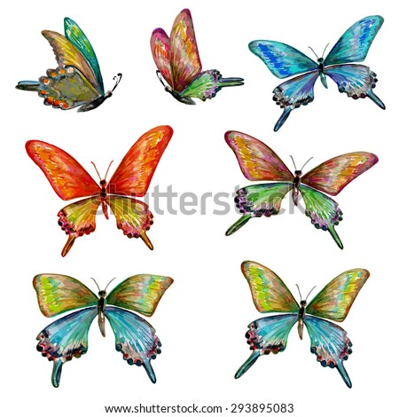 collection of cute butterflies. watercolor painting - stock vector