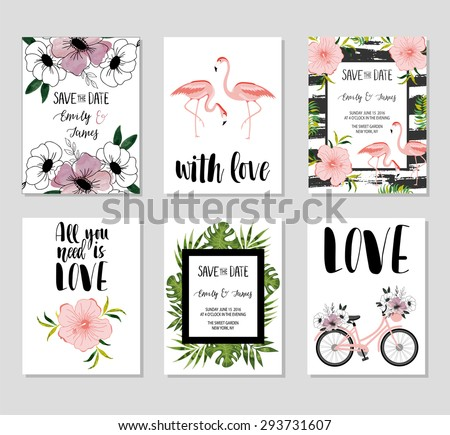 Collection of 6 cute card templates. Wedding, marriage, save the date, baby shower, bridal, birthday, Valentine's day. Stylish simple design. Vector illustration. Poster template. - stock vector