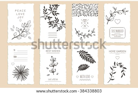 Collection of 8 cute card templates with hand-drawn floral elements and branches. Stylish simple design. Vector illustration. Poster template. - stock vector