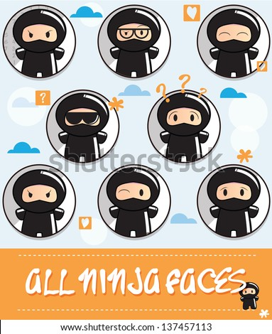 Collection of cute cartoon ninjas with different face expressions - stock vector