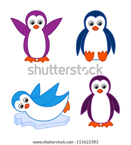 Collection of cute cartoon penguins - stock vector