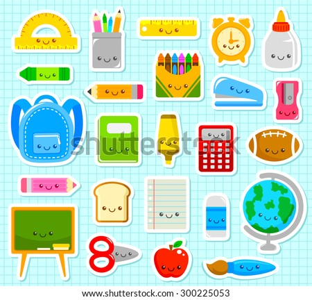 collection of cute cartoon school supplies - stock vector
