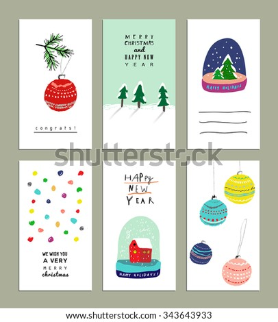 Collection of  Cute Christmas card templates. Christmas Posters set. Vector illustration. Templates for greeting scrapbooking, congratulations, invitations. Design set for winter holidays. Isolated. - stock vector