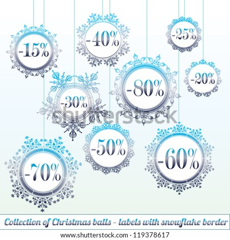 Collection of cute Christmas tree balls hanging - sale labels with snowflake border - stock vector