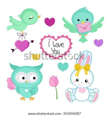 Collection of cute cute animals for Valentine's Day, weddings, congratulations, declarations of love. - stock vector