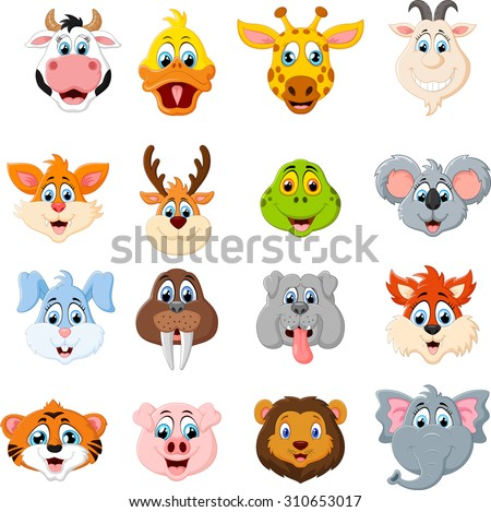Collection of cute face animal  - stock vector