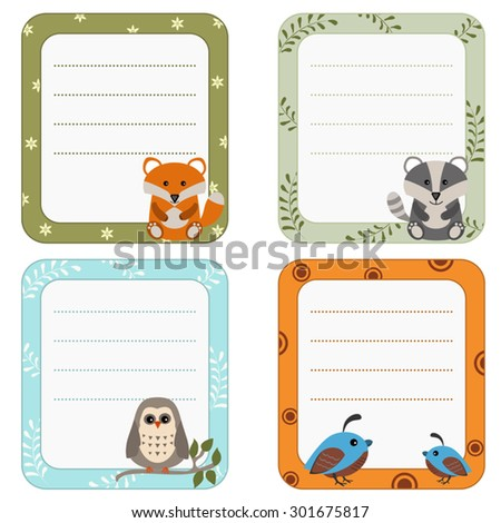 Collection of cute frames with Forest Animals. - stock vector
