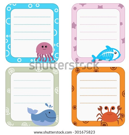 Collection of cute frames with Sea creatures. - stock vector