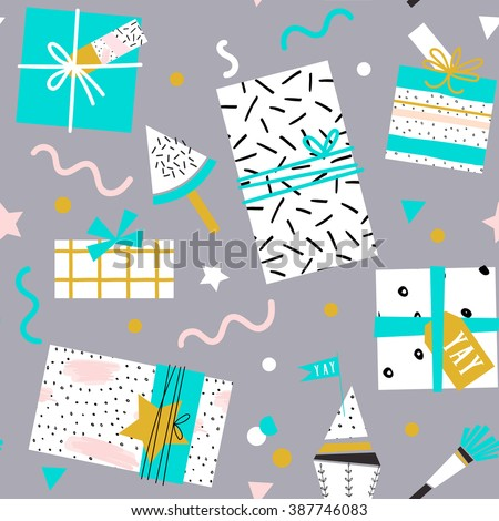 Collection of cute funny birthday item. Wedding, anniversary, birthday, Valentin's day, party invitations. Cake, cupcakes, present boxes and gift tags. Seamless pattern - stock vector