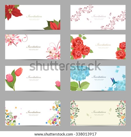 collection of cute invitation cards with flowers for your design - stock vector