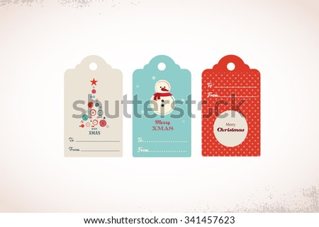 collection of cute ready to use  christmas gift tags - stock vector