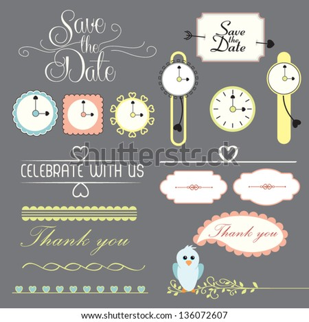 Collection of cute romantic page design elements with labels and ornamental decorations isolated on dark background - vector set illustration - stock vector