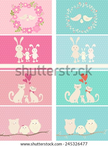 Collection of cutest cards with happy animals families. Parents and baby. Girls and boys.Can be used for celebration postcard, baby shower invitation, scrapbooking, posters.  - stock vector