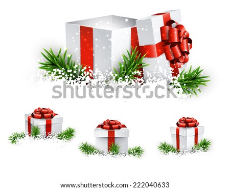 Collection of 3d christmas gift boxes with satin red bows. Realistic vector illustration.  - stock vector