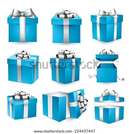 Collection of 3d gift blue boxes with satin silver bows. Realistic vector illustration.  - stock vector