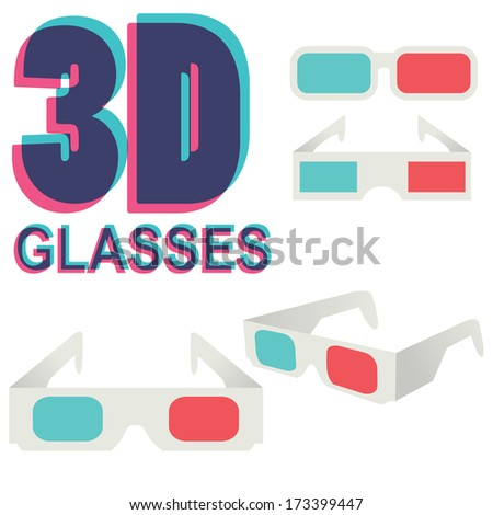collection of 3d glasses isolated on white, vector illustration - stock vector