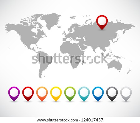Collection of 3D map pointers with world map - stock vector