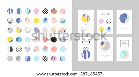 Collection of decor elements and stickers with hand drawn textures plus templates of cards. Beautiful Scrapbook Elements. Ideal for cards, posters, invitations. - stock vector