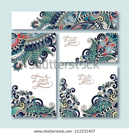 collection of decorative floral greeting cards in vintage style, ethnic pattern, vector illustration - stock vector