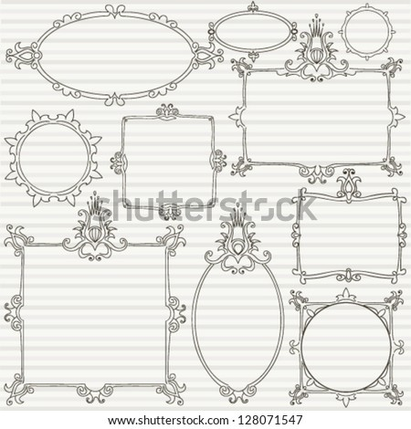 Collection of decorative hand drawn frames - stock vector