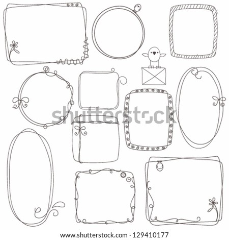 Collection of decorative hand drown frames - stock vector
