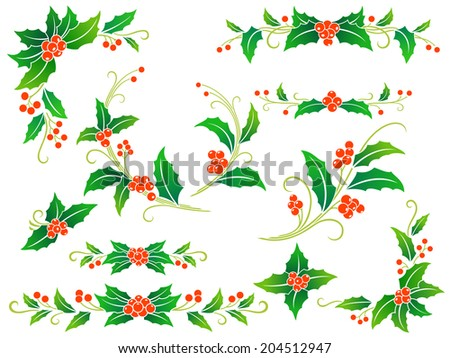Collection of decorative holly branches for your design: corners, divides, frame elements and rosettes. - stock vector