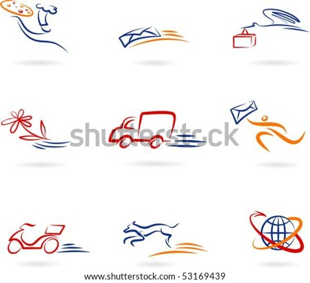 Collection of delivery and post icons - stock vector