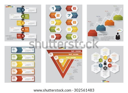 Collection of 6 design template/graphic or website layout. Vector Background. For your idea and presentation. - stock vector