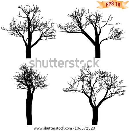 Collection of die tree silhouette - stock vector