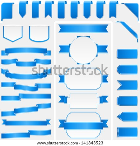 Collection of different blue ribbons and banners, vector eps10 illustration - stock vector