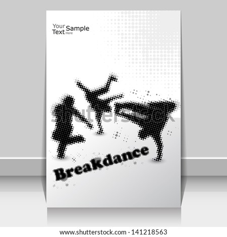 Collection of different break-dance silhouettes halftone effect. Vector illustration.  - stock vector