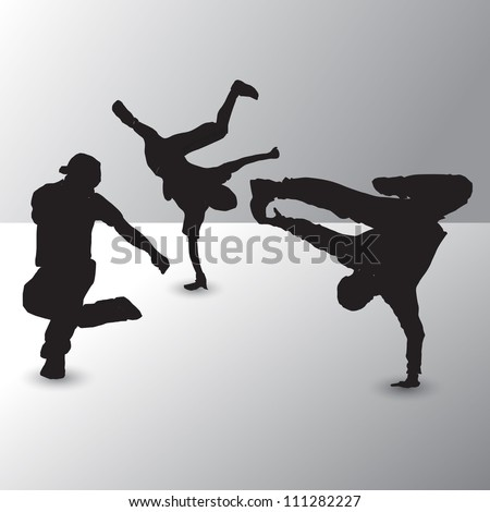 Collection of different break-dance silhouettes. Vector illustration. - stock vector