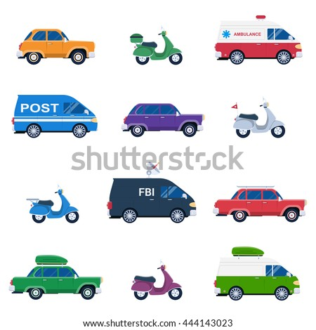 Collection of different cars like ambulance and post minivan, fbi automobile and classic family sedan, motorcycles or gas minibikes assortment for traveling and vacation - stock vector