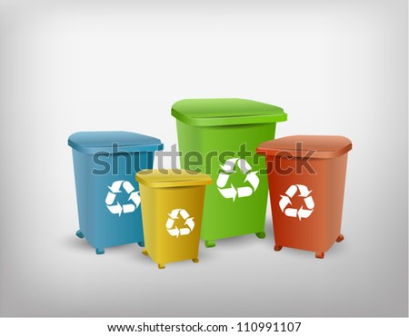 Collection of different color recycle bins - stock vector